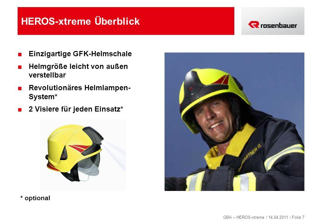 GBA – HEROS-xtreme / 14.04.2011 / Folie 7 HEROS-xtreme Überblick Einzigartige GFK-Helmschale Helmgröße leicht von außen verstellbar Revolutionäres Hel