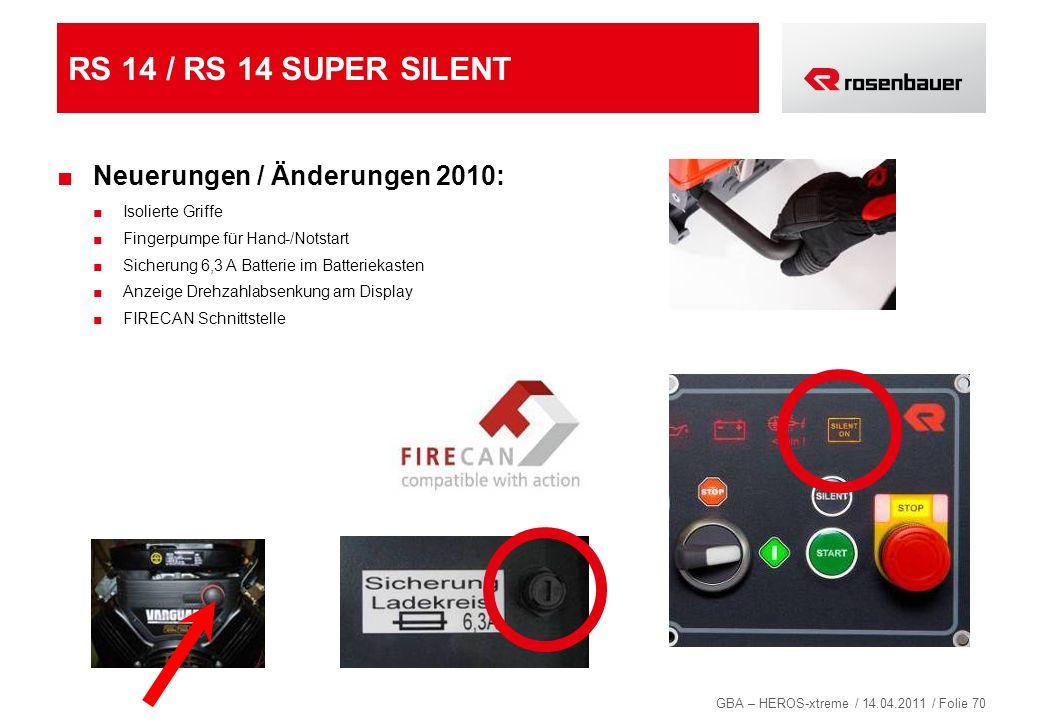 GBA – HEROS-xtreme / 14.04.2011 / Folie 70 RS 14 / RS 14 SUPER SILENT Neuerungen / Änderungen 2010: Isolierte Griffe Fingerpumpe für Hand-/Notstart Si