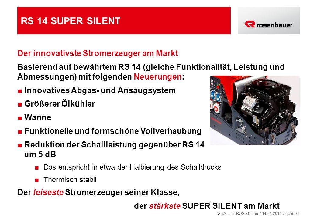 GBA – HEROS-xtreme / 14.04.2011 / Folie 71 RS 14 SUPER SILENT Der innovativste Stromerzeuger am Markt Basierend auf bewährtem RS 14 (gleiche Funktiona