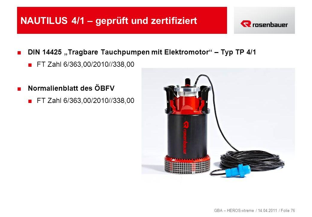 GBA – HEROS-xtreme / 14.04.2011 / Folie 76 NAUTILUS 4/1 – geprüft und zertifiziert DIN 14425 Tragbare Tauchpumpen mit Elektromotor – Typ TP 4/1 FT Zah