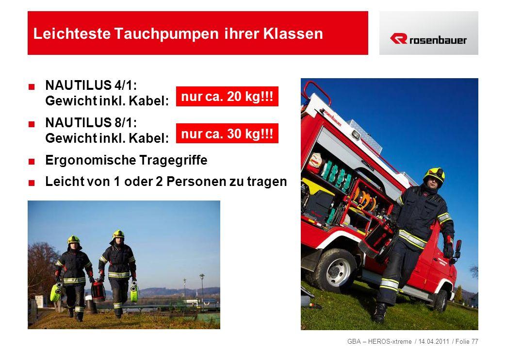 GBA – HEROS-xtreme / 14.04.2011 / Folie 77 Leichteste Tauchpumpen ihrer Klassen NAUTILUS 4/1: Gewicht inkl. Kabel: NAUTILUS 8/1: Gewicht inkl. Kabel: