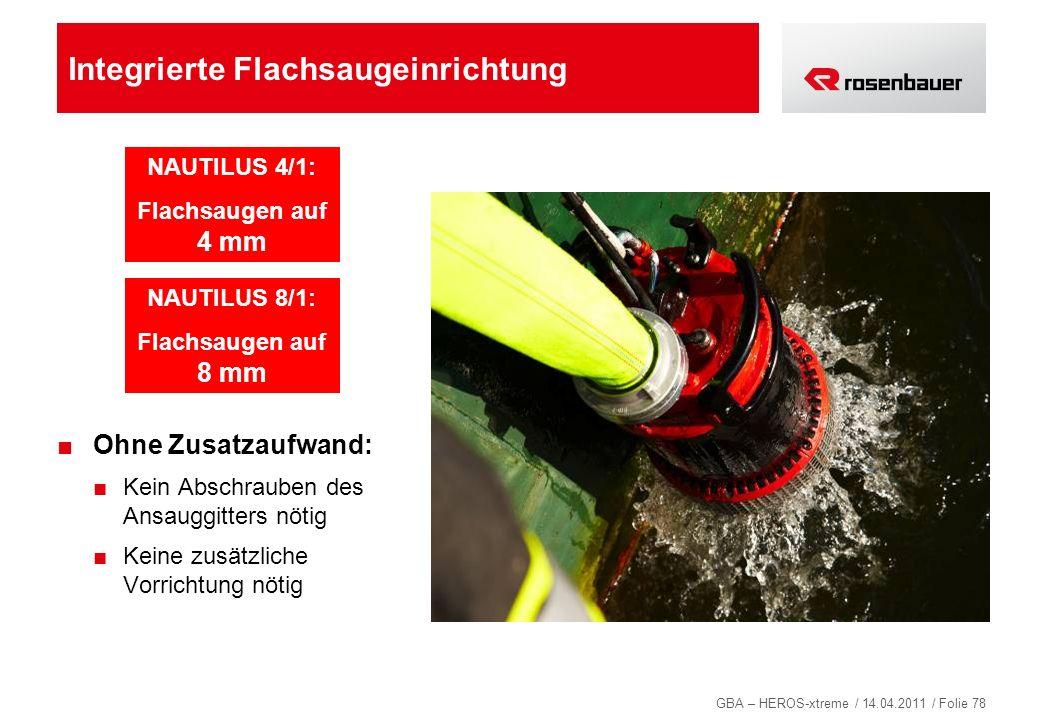 GBA – HEROS-xtreme / 14.04.2011 / Folie 78 Integrierte Flachsaugeinrichtung Ohne Zusatzaufwand: Kein Abschrauben des Ansauggitters nötig Keine zusätzl