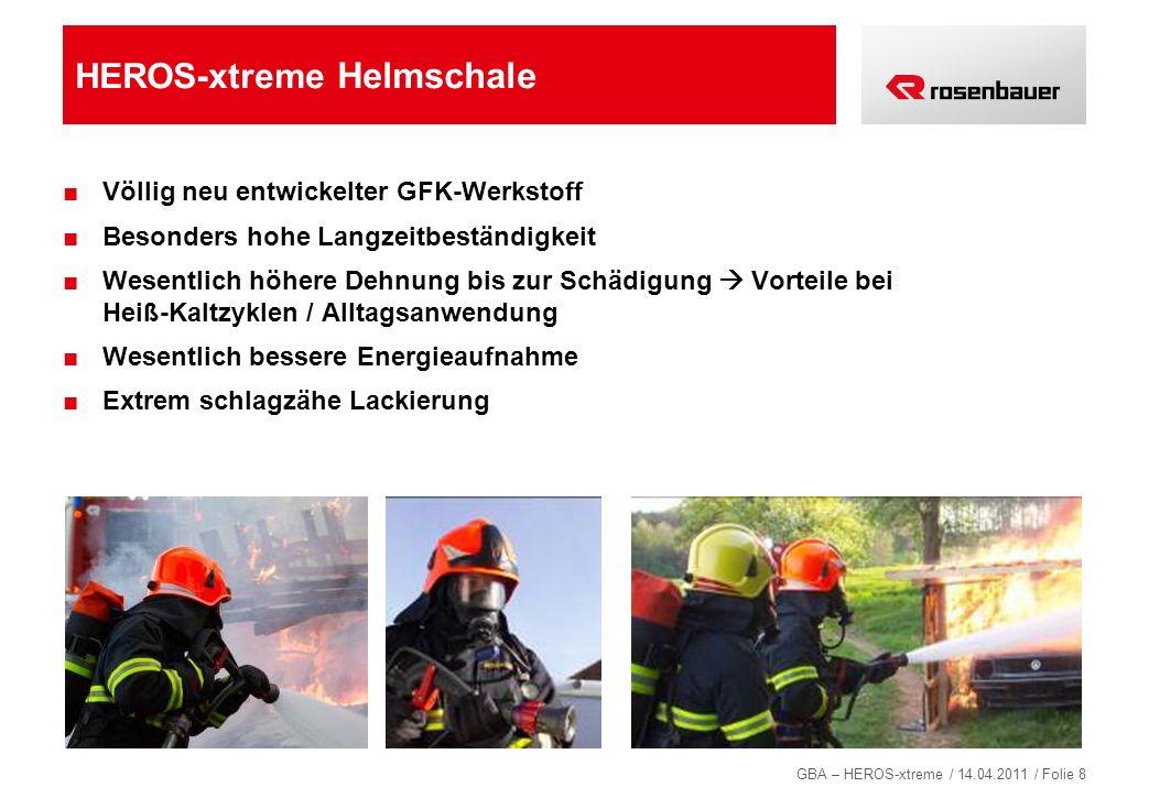 GBA – HEROS-xtreme / 14.04.2011 / Folie 9 HEROS-xtreme: verbessertes Größenverstellsystem Einfache Kopfweiteneinstellung von außen Ergonomisch optimiertes und größenverstellbares Kopfband für ermüdungsfreies Tragen Bedienung von außen mit Handschuhen möglich Festigkeit kann jederzeit der Einsatzsituation angepasst werden