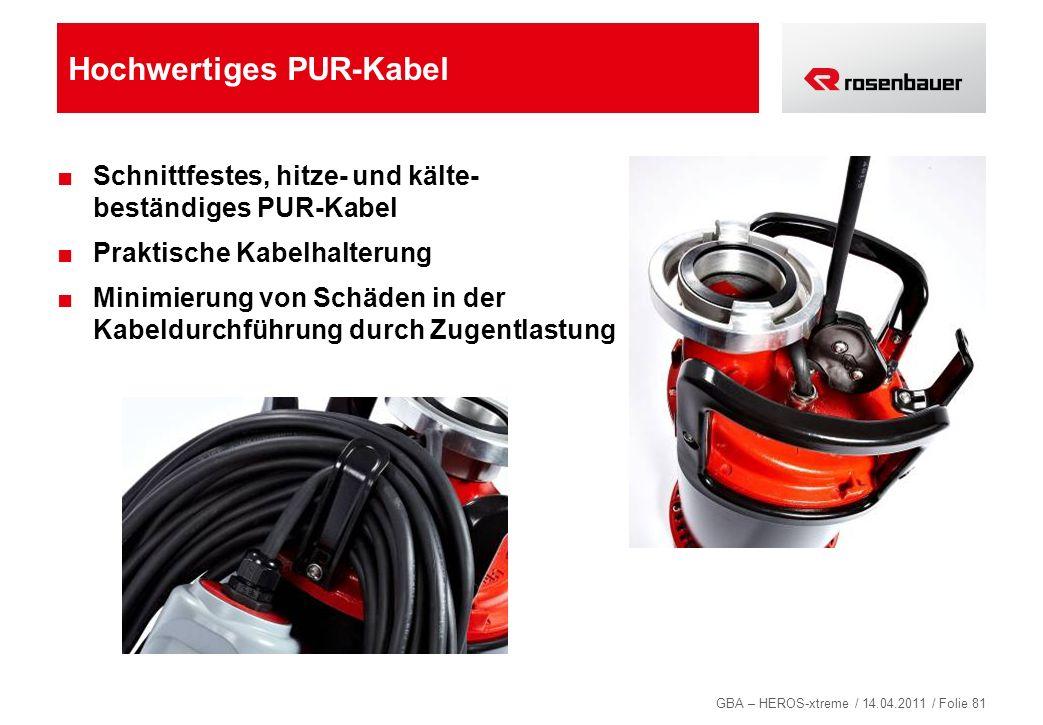 GBA – HEROS-xtreme / 14.04.2011 / Folie 81 Hochwertiges PUR-Kabel Schnittfestes, hitze- und kälte- beständiges PUR-Kabel Praktische Kabelhalterung Min