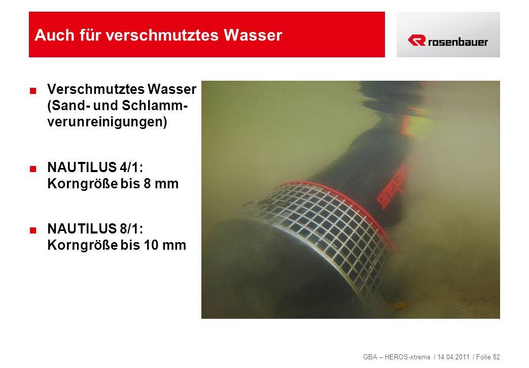GBA – HEROS-xtreme / 14.04.2011 / Folie 82 Auch für verschmutztes Wasser Verschmutztes Wasser (Sand- und Schlamm- verunreinigungen) NAUTILUS 4/1: Korn