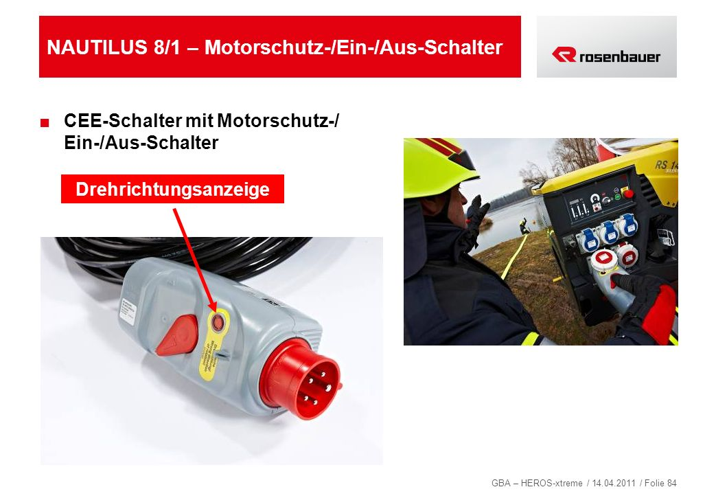 GBA – HEROS-xtreme / 14.04.2011 / Folie 84 NAUTILUS 8/1 – Motorschutz-/Ein-/Aus-Schalter CEE-Schalter mit Motorschutz-/ Ein-/Aus-Schalter Drehrichtung