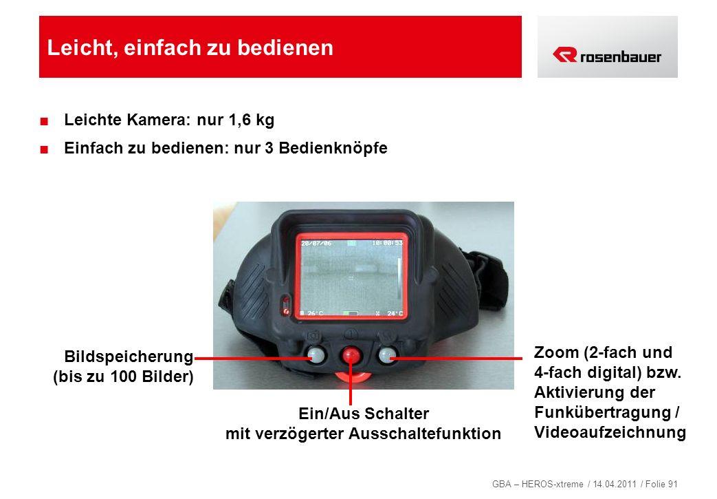 GBA – HEROS-xtreme / 14.04.2011 / Folie 91 Leicht, einfach zu bedienen Leichte Kamera: nur 1,6 kg Einfach zu bedienen: nur 3 Bedienknöpfe Bildspeicher