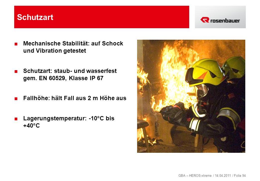 GBA – HEROS-xtreme / 14.04.2011 / Folie 94 Schutzart Mechanische Stabilität: auf Schock und Vibration getestet Schutzart: staub- und wasserfest gem. E