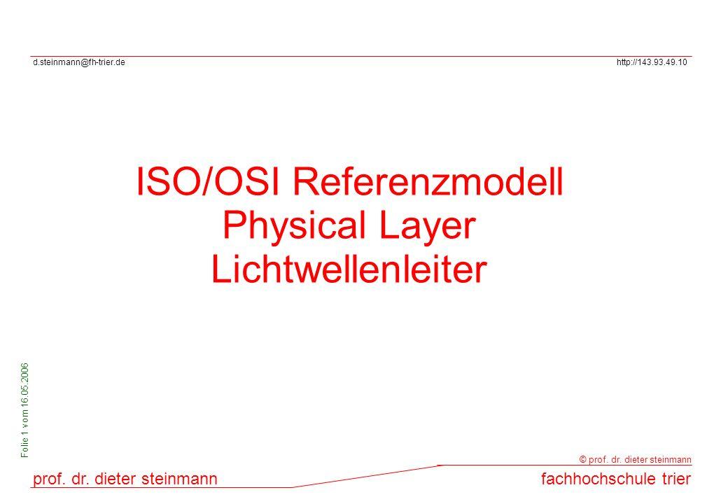 d.steinmann@fh-trier.dehttp://143.93.49.10 prof. dr. dieter steinmannfachhochschule trier © prof. dr. dieter steinmann Folie 1 vom 16.05.2006 ISO/OSI