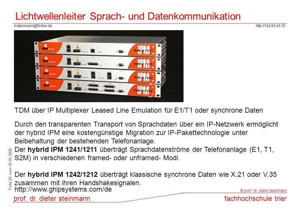 d.steinmann@fh-trier.dehttp://143.93.49.10 prof. dr. dieter steinmannfachhochschule trier © prof. dr. dieter steinmann Folie 20 vom 16.05.2006 Lichtwe