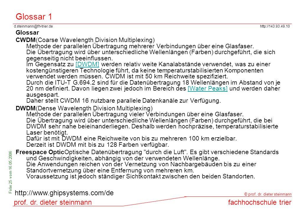 d.steinmann@fh-trier.dehttp://143.93.49.10 prof. dr. dieter steinmannfachhochschule trier © prof. dr. dieter steinmann Folie 25 vom 16.05.2006 Glossar