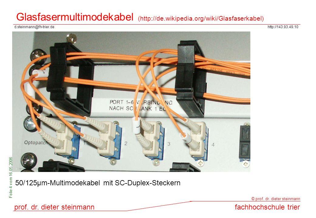 d.steinmann@fh-trier.dehttp://143.93.49.10 prof. dr. dieter steinmannfachhochschule trier © prof. dr. dieter steinmann Folie 4 vom 16.05.2006 Glasfase