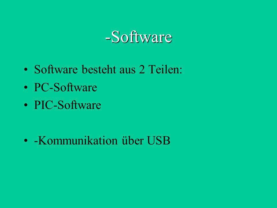 -Software Software besteht aus 2 Teilen: PC-Software PIC-Software -Kommunikation über USB