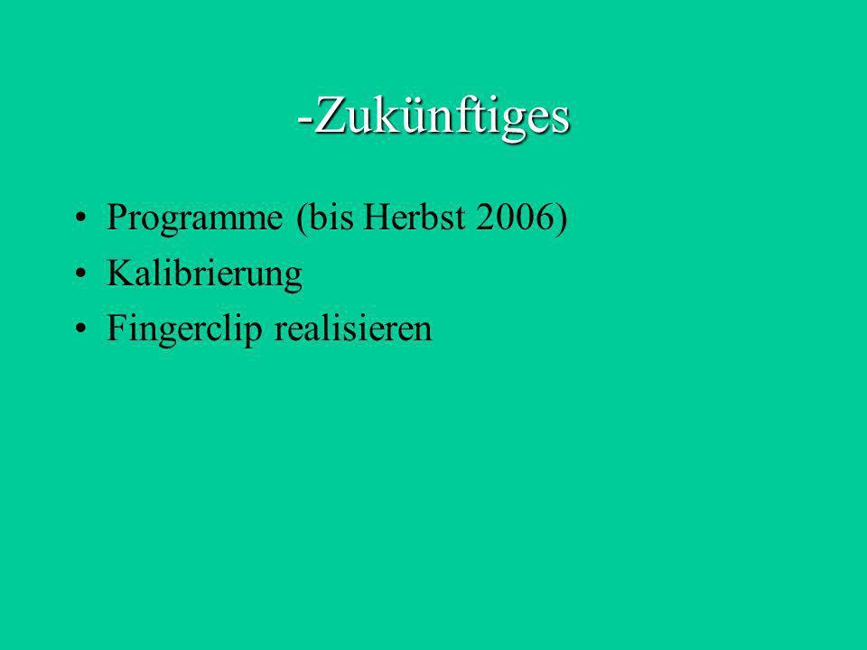 -Zukünftiges Programme (bis Herbst 2006) Kalibrierung Fingerclip realisieren