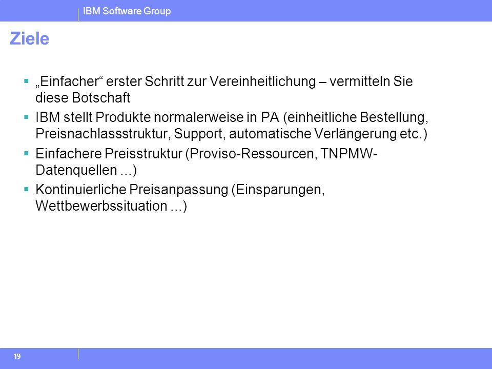 IBM Software Group 19 Ziele Einfacher erster Schritt zur Vereinheitlichung – vermitteln Sie diese Botschaft IBM stellt Produkte normalerweise in PA (e