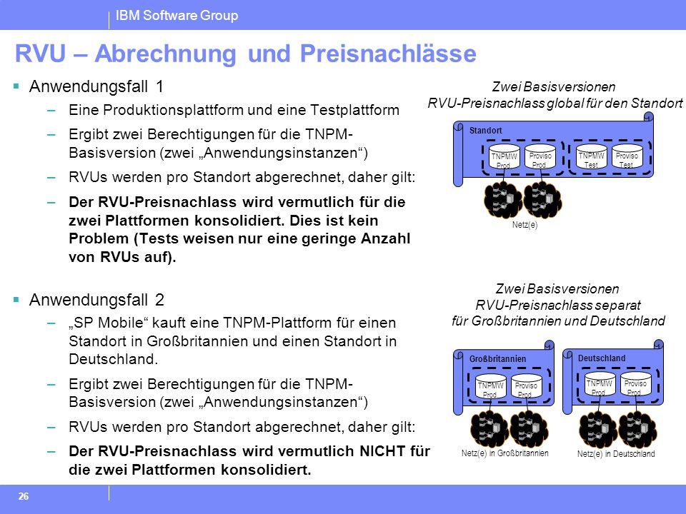 IBM Software Group 26 Deutschland Standort RVU – Abrechnung und Preisnachlässe Anwendungsfall 1 –Eine Produktionsplattform und eine Testplattform –Erg