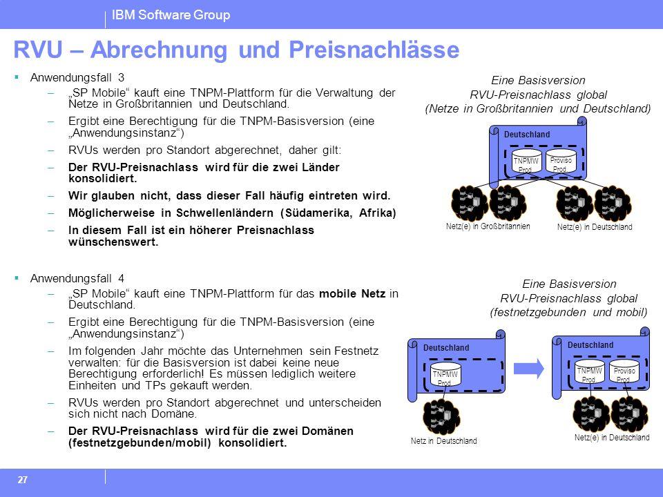 IBM Software Group 27 RVU – Abrechnung und Preisnachlässe Anwendungsfall 3 –SP Mobile kauft eine TNPM-Plattform für die Verwaltung der Netze in Großbr