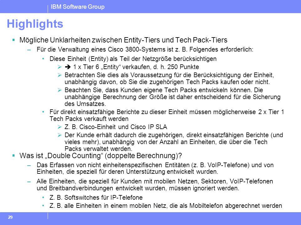IBM Software Group 29 Highlights Mögliche Unklarheiten zwischen Entity-Tiers und Tech Pack-Tiers –Für die Verwaltung eines Cisco 3800-Systems ist z. B