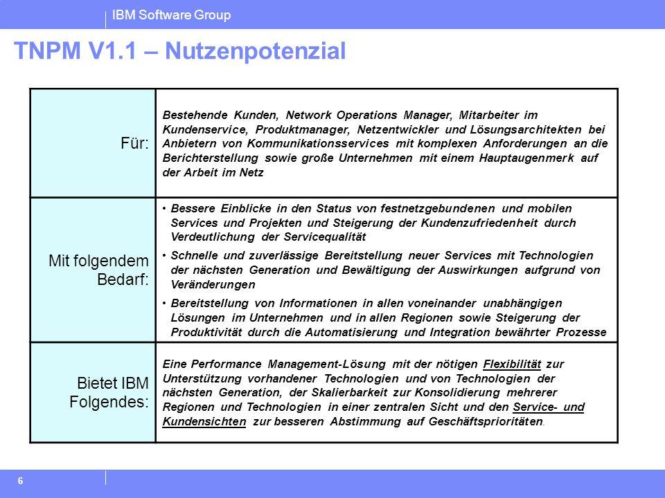IBM Software Group 6 TNPM V1.1 – Nutzenpotenzial Für: Bestehende Kunden, Network Operations Manager, Mitarbeiter im Kundenservice, Produktmanager, Net