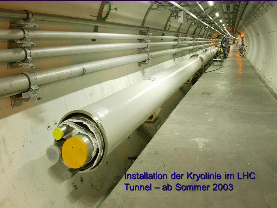Installation der Kryolinie im LHC Tunnel – ab Sommer 2003