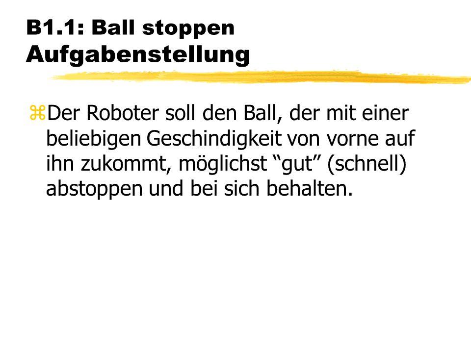 B1.1: Ball stoppen Aufgabenstellung zDer Roboter soll den Ball, der mit einer beliebigen Geschindigkeit von vorne auf ihn zukommt, möglichst gut (schnell) abstoppen und bei sich behalten.