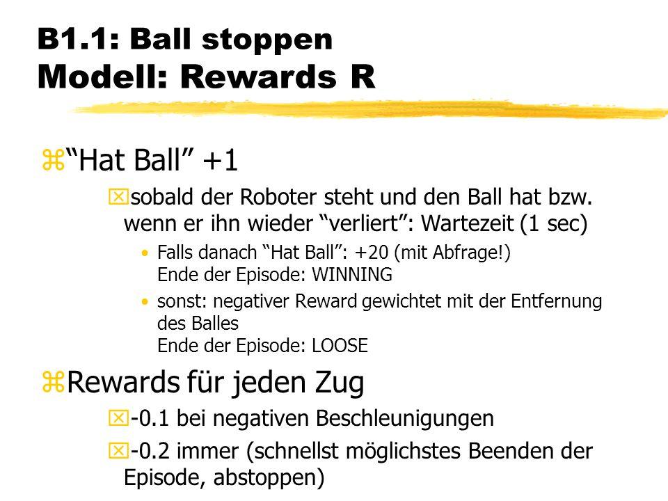 B1.1: Ball stoppen Modell: Rewards R zHat Ball +1 xsobald der Roboter steht und den Ball hat bzw.
