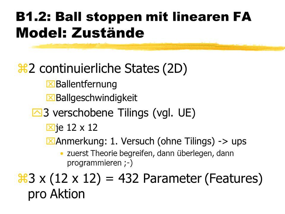 B1.2: Ball stoppen mit linearen FA Model: Zustände z2 continuierliche States (2D) xBallentfernung xBallgeschwindigkeit y3 verschobene Tilings (vgl.