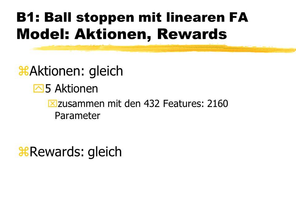 B1: Ball stoppen mit linearen FA Model: Aktionen, Rewards zAktionen: gleich y5 Aktionen xzusammen mit den 432 Features: 2160 Parameter zRewards: gleich