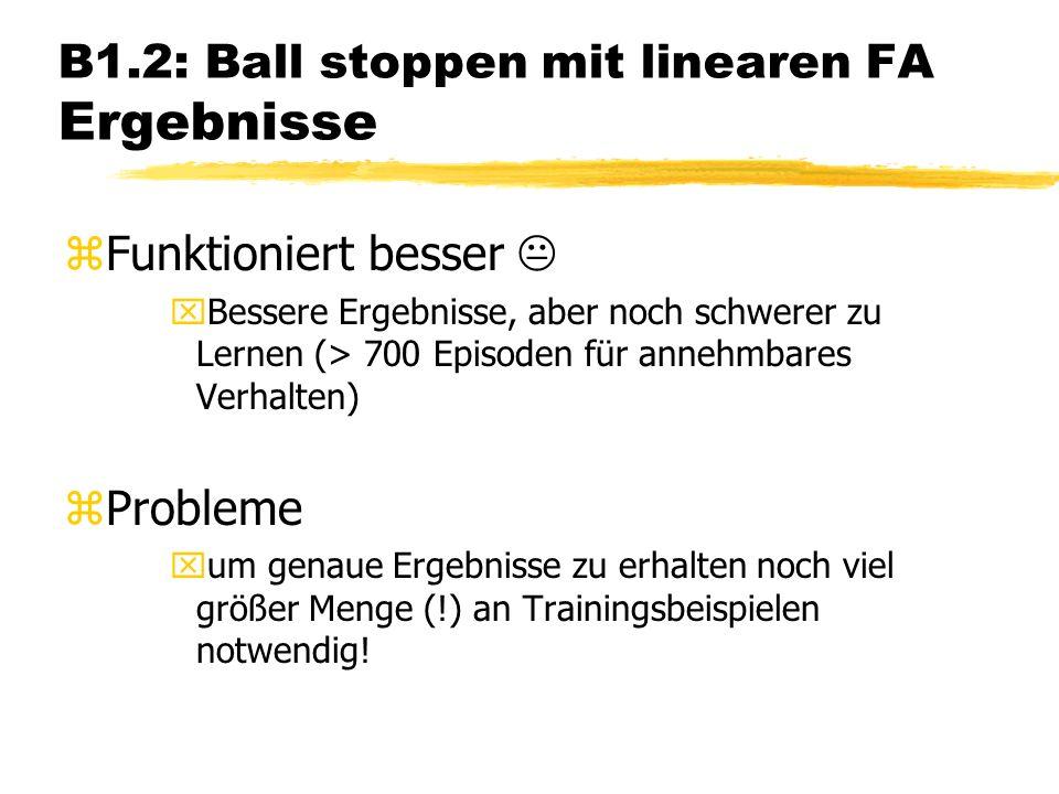 B1.2: Ball stoppen mit linearen FA Ergebnisse zFunktioniert besser xBessere Ergebnisse, aber noch schwerer zu Lernen (> 700 Episoden für annehmbares Verhalten) zProbleme xum genaue Ergebnisse zu erhalten noch viel größer Menge (!) an Trainingsbeispielen notwendig!