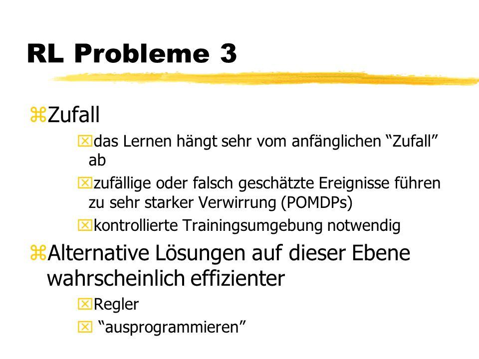 RL Probleme 3 zZufall xdas Lernen hängt sehr vom anfänglichen Zufall ab xzufällige oder falsch geschätzte Ereignisse führen zu sehr starker Verwirrung (POMDPs) xkontrollierte Trainingsumgebung notwendig zAlternative Lösungen auf dieser Ebene wahrscheinlich effizienter xRegler x ausprogrammieren