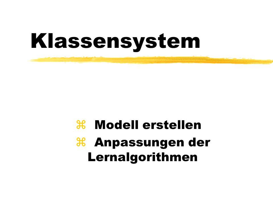 Klassensystem z Modell erstellen z Anpassungen der Lernalgorithmen