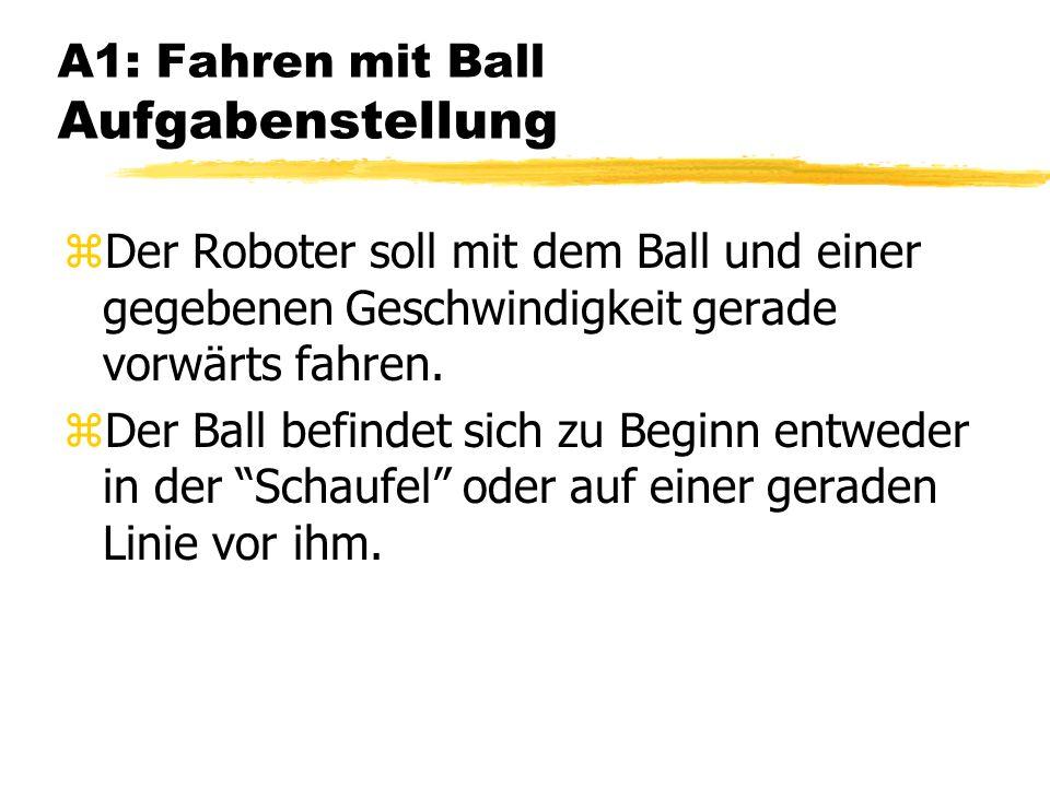 A1: Fahren mit Ball Aufgabenstellung zDer Roboter soll mit dem Ball und einer gegebenen Geschwindigkeit gerade vorwärts fahren.