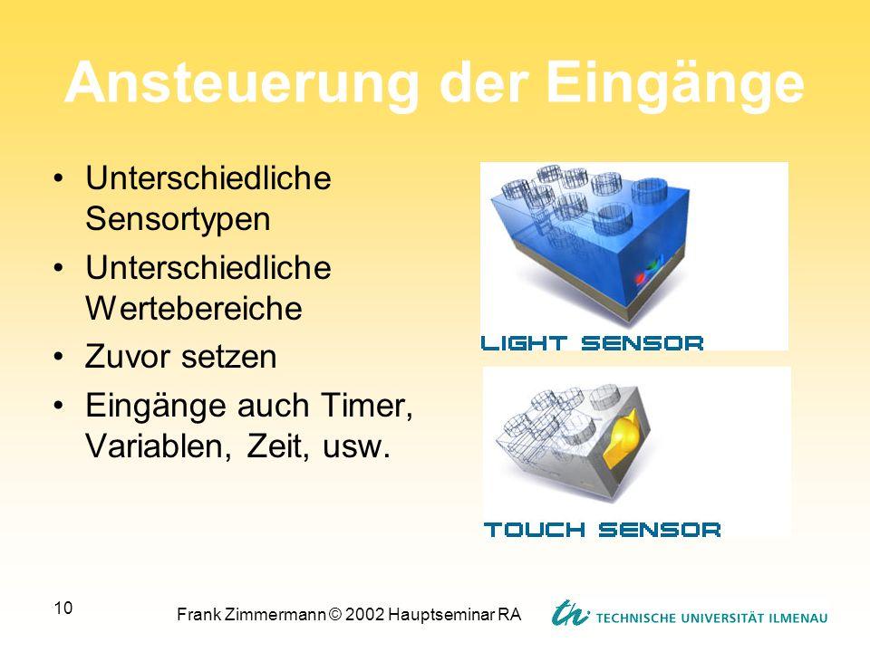 Frank Zimmermann © 2002 Hauptseminar RA 10 Ansteuerung der Eingänge Unterschiedliche Sensortypen Unterschiedliche Wertebereiche Zuvor setzen Eingänge