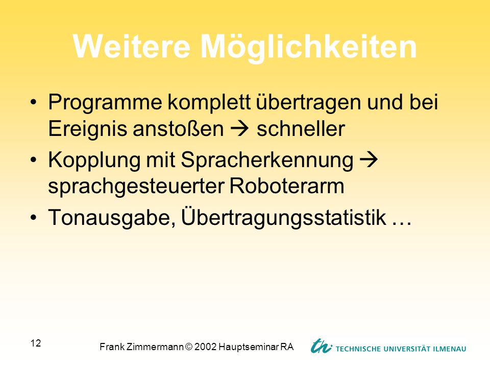 Frank Zimmermann © 2002 Hauptseminar RA 12 Weitere Möglichkeiten Programme komplett übertragen und bei Ereignis anstoßen schneller Kopplung mit Sprach