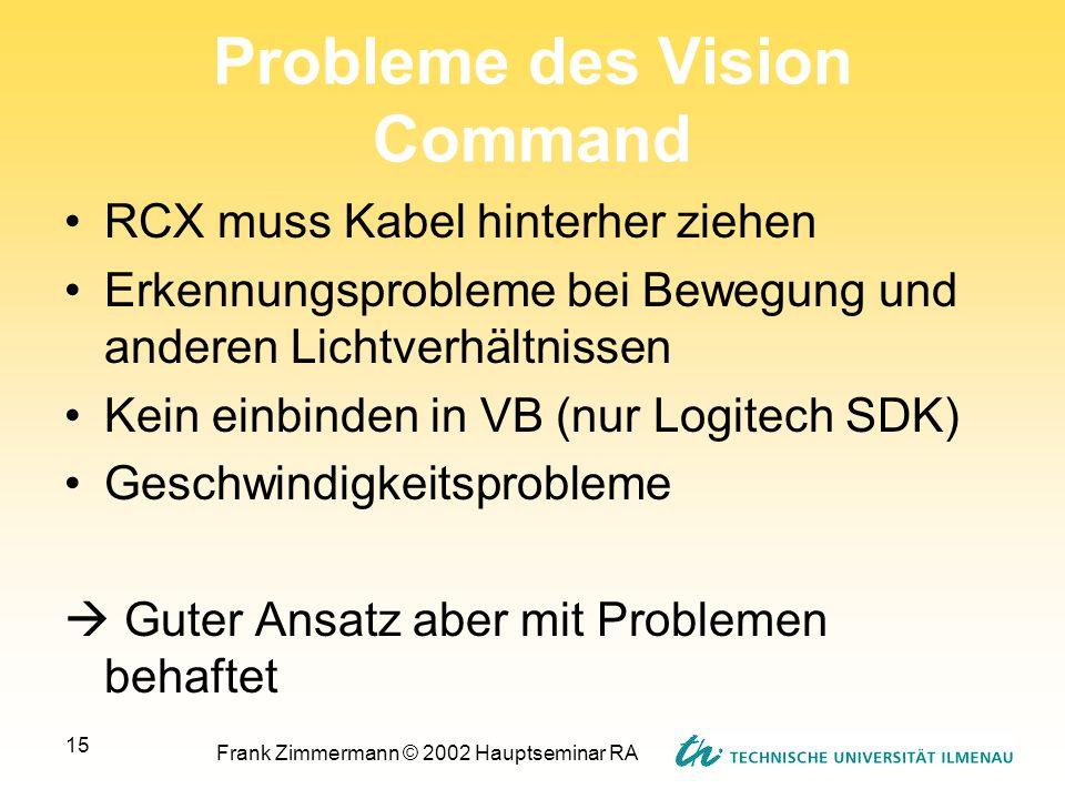Frank Zimmermann © 2002 Hauptseminar RA 15 Probleme des Vision Command RCX muss Kabel hinterher ziehen Erkennungsprobleme bei Bewegung und anderen Lic