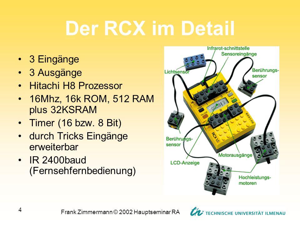 Frank Zimmermann © 2002 Hauptseminar RA 4 Der RCX im Detail 3 Eingänge 3 Ausgänge Hitachi H8 Prozessor 16Mhz, 16k ROM, 512 RAM plus 32KSRAM Timer (16
