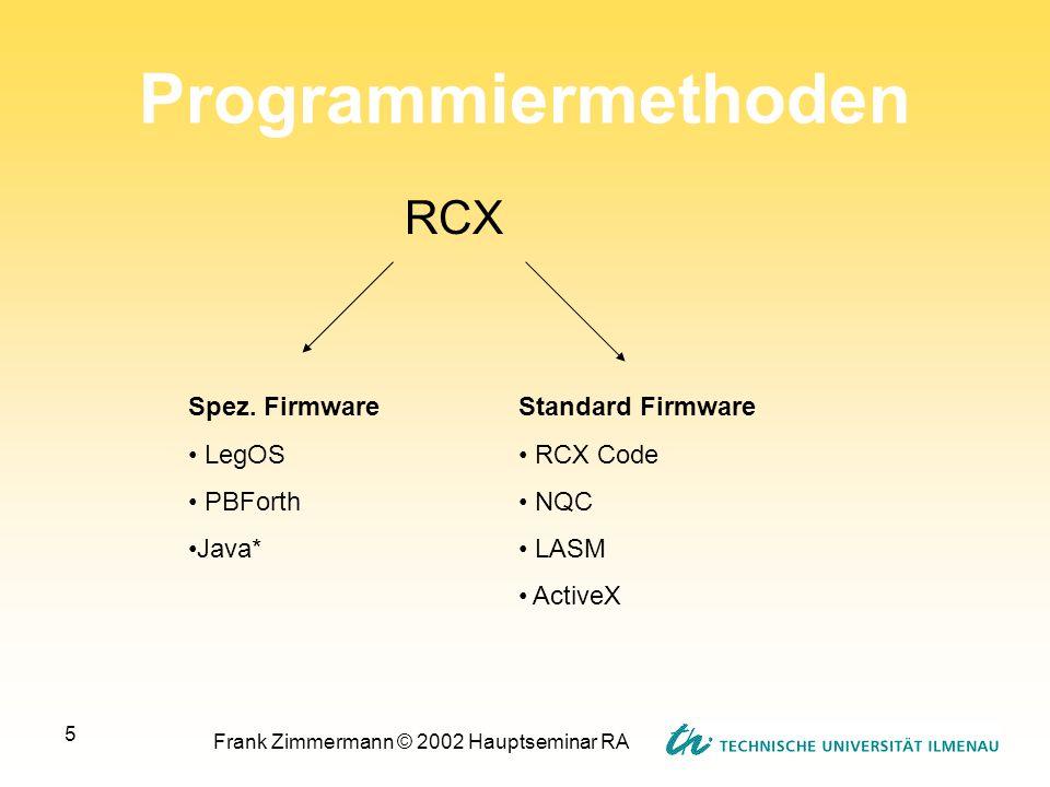 Frank Zimmermann © 2002 Hauptseminar RA 5 Programmiermethoden RCX Spez. Firmware LegOS PBForth Java* Standard Firmware RCX Code NQC LASM ActiveX