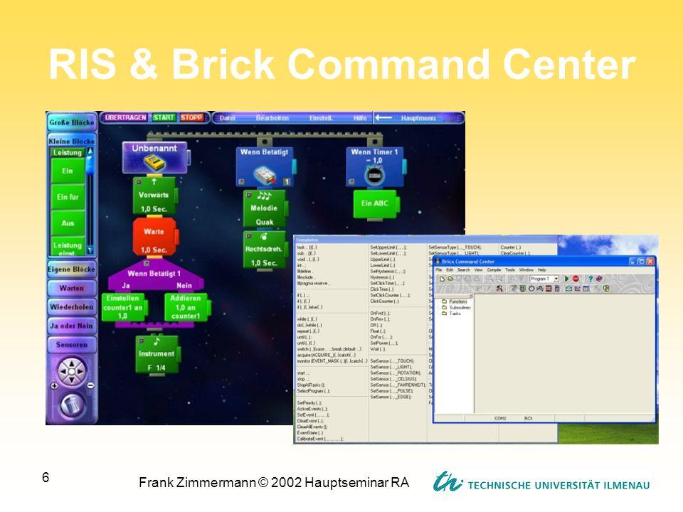 Frank Zimmermann © 2002 Hauptseminar RA 6 RIS & Brick Command Center
