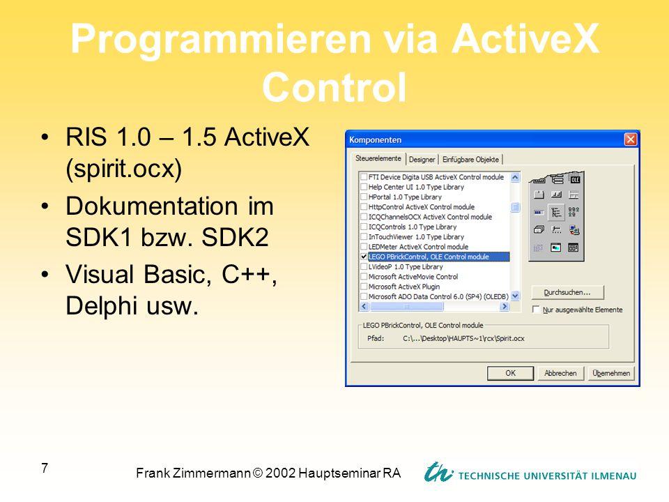 Frank Zimmermann © 2002 Hauptseminar RA 7 Programmieren via ActiveX Control RIS 1.0 – 1.5 ActiveX (spirit.ocx) Dokumentation im SDK1 bzw. SDK2 Visual