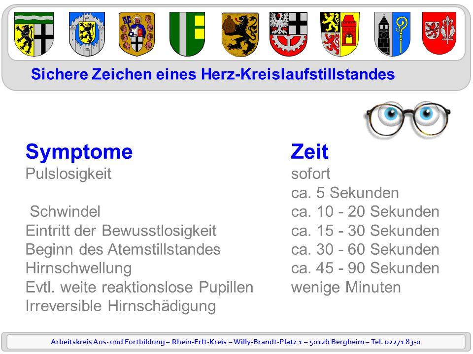 Arbeitskreis Aus- und Fortbildung – Rhein-Erft-Kreis – Willy-Brandt-Platz 1 – 50126 Bergheim – Tel. 02271 83-0 Symptome Pulslosigkeit Schwindel Eintri