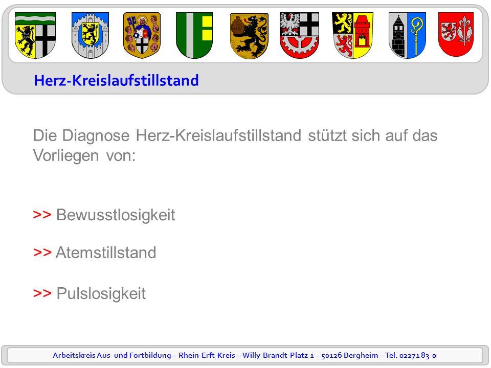 Arbeitskreis Aus- und Fortbildung – Rhein-Erft-Kreis – Willy-Brandt-Platz 1 – 50126 Bergheim – Tel. 02271 83-0 Herz-Kreislaufstillstand Die Diagnose H