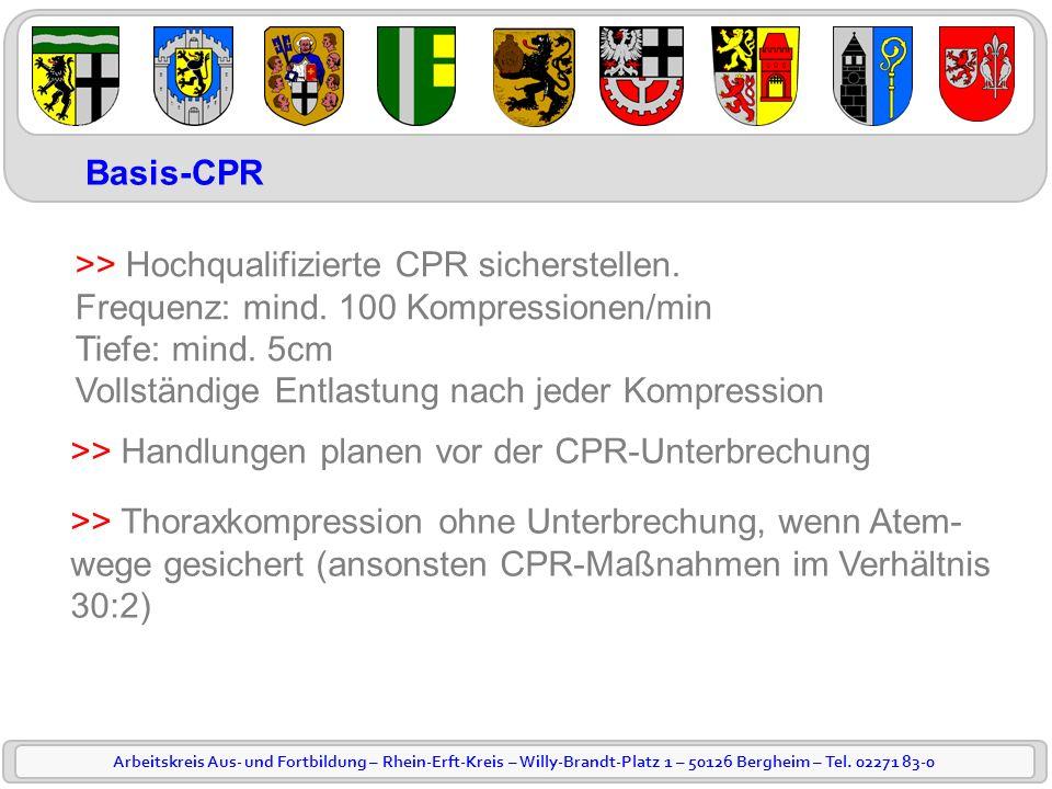 Arbeitskreis Aus- und Fortbildung – Rhein-Erft-Kreis – Willy-Brandt-Platz 1 – 50126 Bergheim – Tel. 02271 83-0 Basis-CPR >> Hochqualifizierte CPR sich
