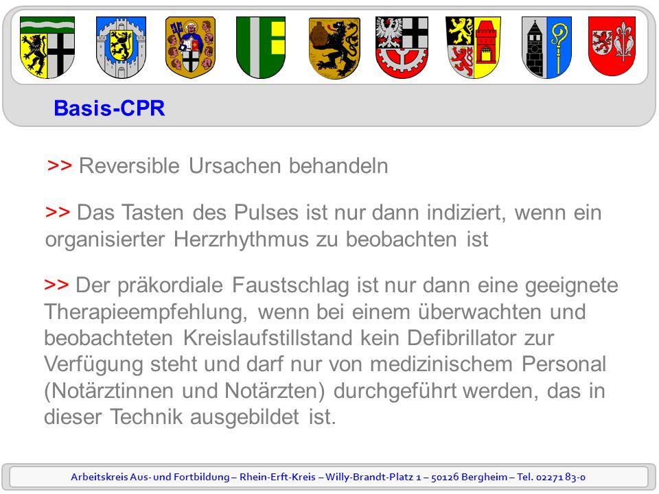 Arbeitskreis Aus- und Fortbildung – Rhein-Erft-Kreis – Willy-Brandt-Platz 1 – 50126 Bergheim – Tel. 02271 83-0 Basis-CPR >> Reversible Ursachen behand