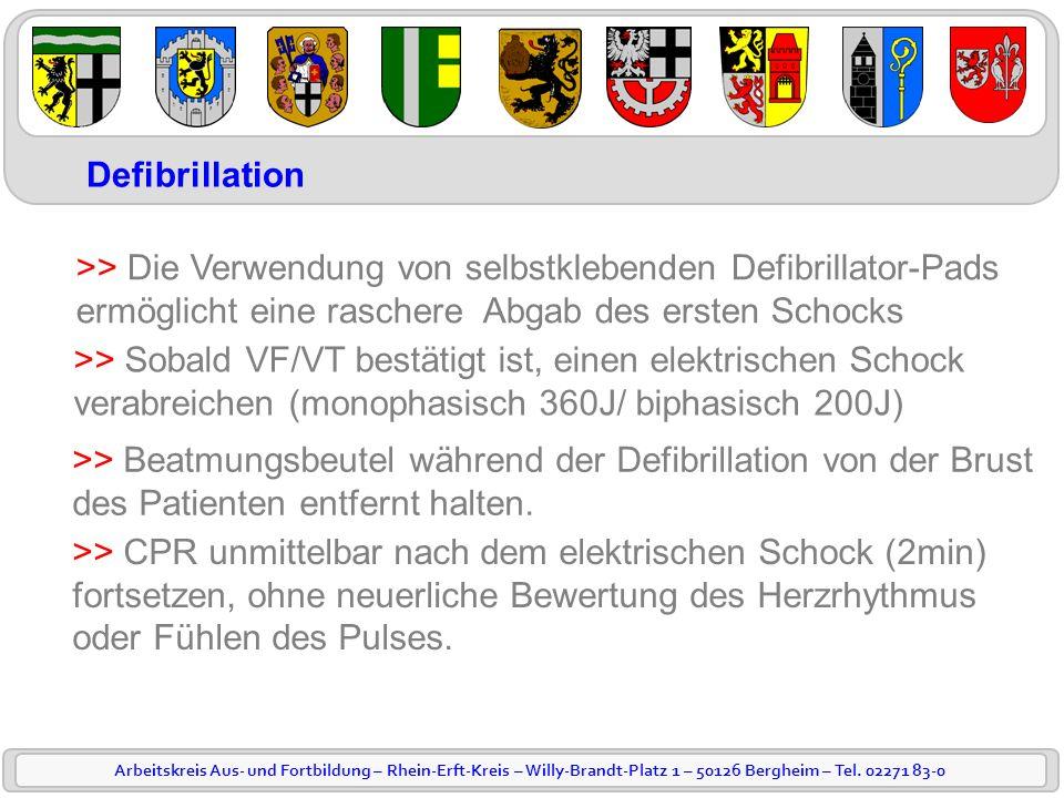 Arbeitskreis Aus- und Fortbildung – Rhein-Erft-Kreis – Willy-Brandt-Platz 1 – 50126 Bergheim – Tel. 02271 83-0 Defibrillation >> Die Verwendung von se