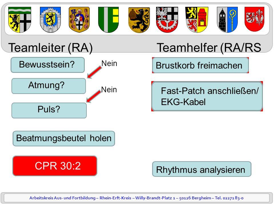 Arbeitskreis Aus- und Fortbildung – Rhein-Erft-Kreis – Willy-Brandt-Platz 1 – 50126 Bergheim – Tel. 02271 83-0 Bewusstsein? Atmung? Puls? Beatmungsbeu