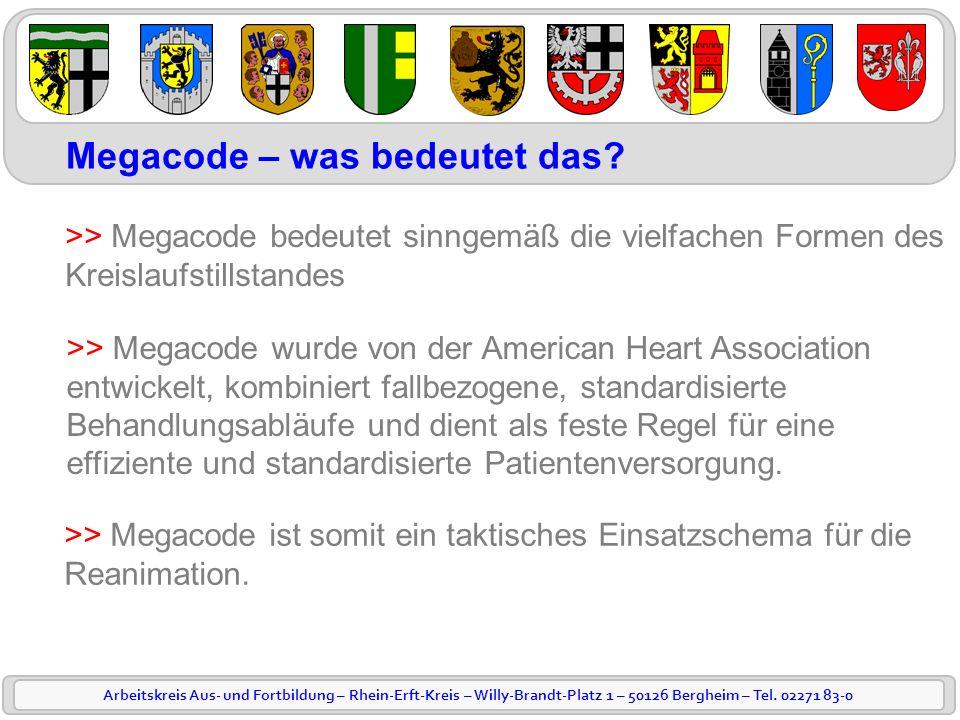 Arbeitskreis Aus- und Fortbildung – Rhein-Erft-Kreis – Willy-Brandt-Platz 1 – 50126 Bergheim – Tel. 02271 83-0 Megacode – was bedeutet das? >> Megacod