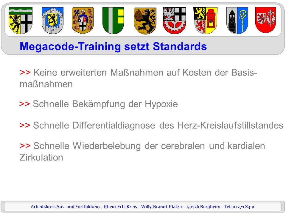 Arbeitskreis Aus- und Fortbildung – Rhein-Erft-Kreis – Willy-Brandt-Platz 1 – 50126 Bergheim – Tel. 02271 83-0 Megacode-Training setzt Standards >> Ke
