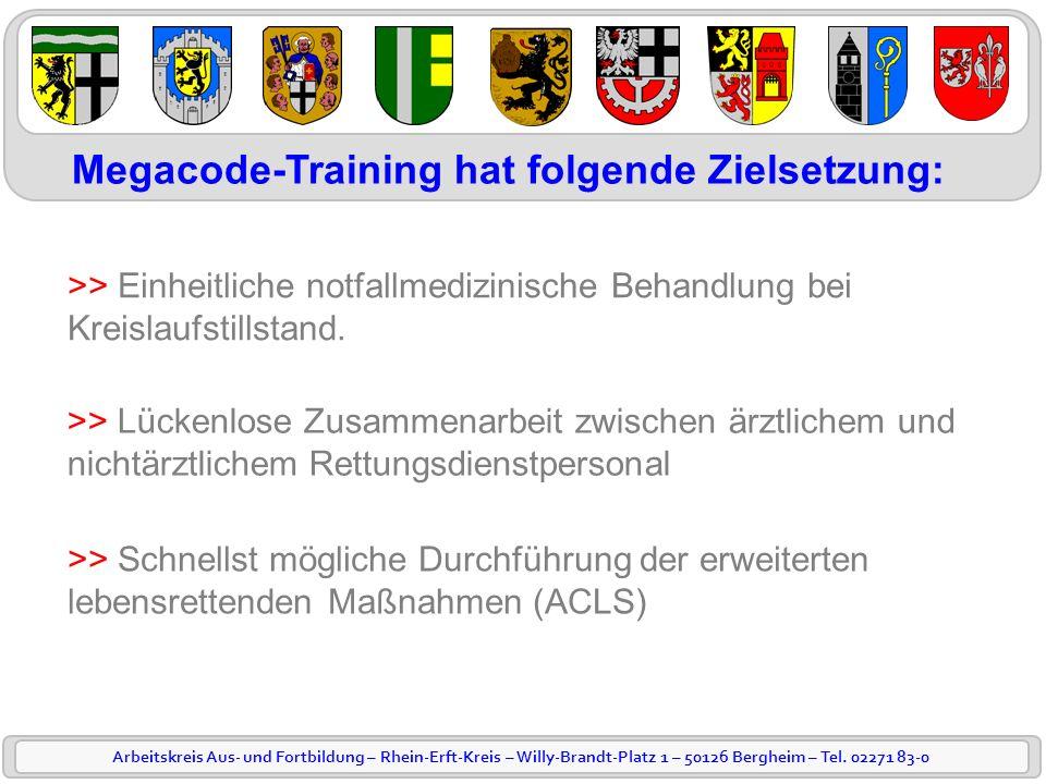 Arbeitskreis Aus- und Fortbildung – Rhein-Erft-Kreis – Willy-Brandt-Platz 1 – 50126 Bergheim – Tel. 02271 83-0 Megacode-Training hat folgende Zielsetz