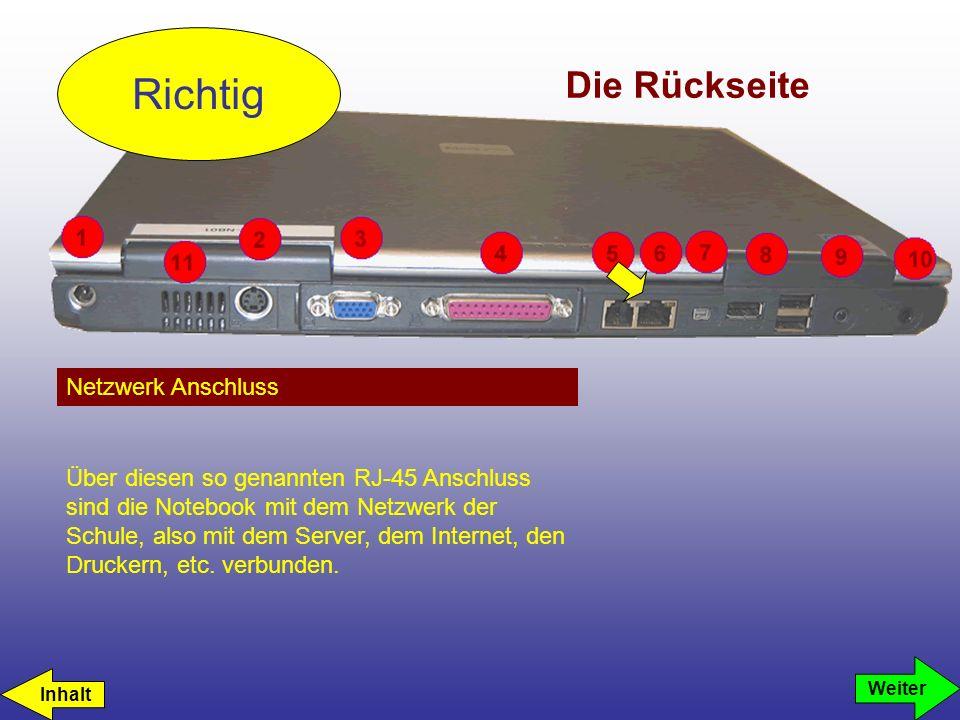 Die Rückseite Netzwerk Anschluss Richtig Weiter Über diesen so genannten RJ-45 Anschluss sind die Notebook mit dem Netzwerk der Schule, also mit dem S