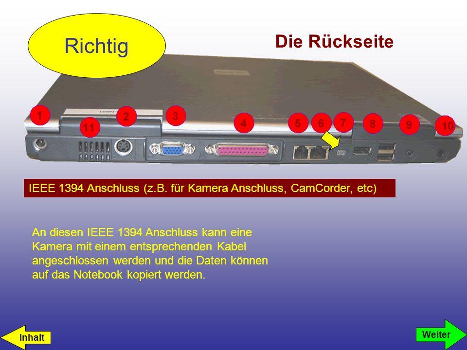 Die Rückseite IEEE 1394 Anschluss (z.B. für Kamera Anschluss, CamCorder, etc) Richtig Weiter An diesen IEEE 1394 Anschluss kann eine Kamera mit einem
